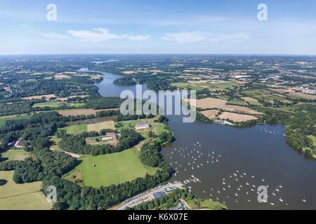 France, Loire Atlantique, La Chapelle sur Erdre, boats on l'Erdre river (aerial view) - Stock Photo