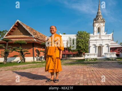 Thailand, Phetchaburi province, Phetchaburi, 17th century Wat Yai Suwannaram temple - Stock Photo