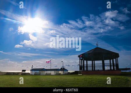 Walmer Memorial Bandstand under a blue sky - Stock Photo