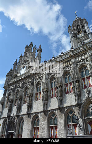 Stadhuis  Middelburg  - old city hall in the Netherlands with blue sky - Stock Photo
