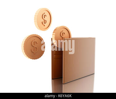 3d illustration. Close up view of leather wallet with coins. Concept of payment. Isolated white background - Stock Photo
