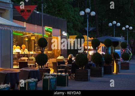 Latvia, Western Latvia, Riga Area, Jurmala, Majori Village, evening on Jomas Iela Street - Stock Photo
