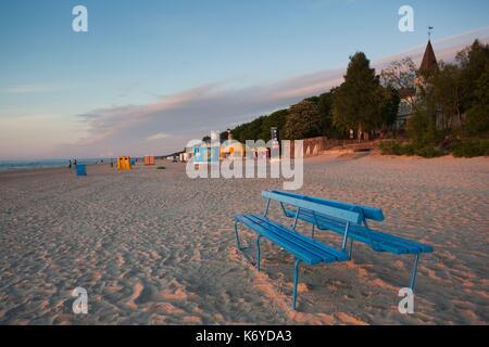 Latvia, Western Latvia, Riga Area, Jurmala, Majori Village, Majori Beach, sunset - Stock Photo