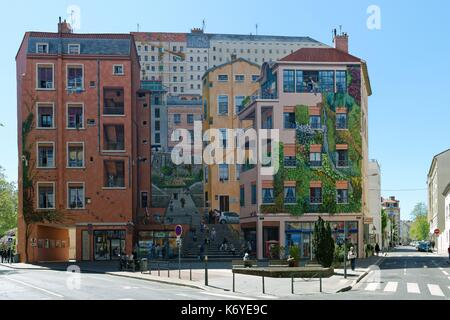 France, Rhone, Lyon, historical site listed as World Heritage by UNESCO, the Croix Rousse district, the fresco of - Stock Photo