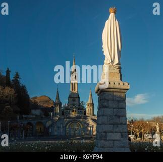 France, Hautes Pyrenees, listed at Great Tourist Sites in Midi Pyrenees, Lourdes, Lourdes sanctuaries, statue of - Stock Photo