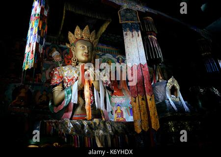India, Jammu and Kashmir, Ladakh, Nubra valley, Buddhist monastery of Samstanling in Sumur, statue of Buddha - Stock Photo