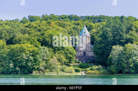 memorial to King Ludwig of Bavaria on Lake Starnberg in Germany - Stock Photo