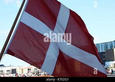 Red and white Danish flag - Denmark - Stock Photo