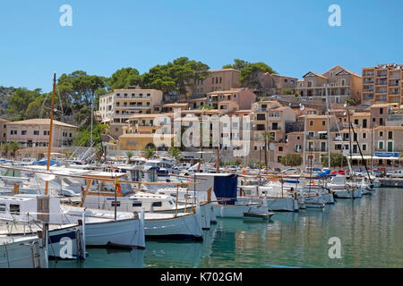 Soller Harbour Front Balearic Island Majorca Mallorca Spain Espana EU European Union Europe - Stock Photo