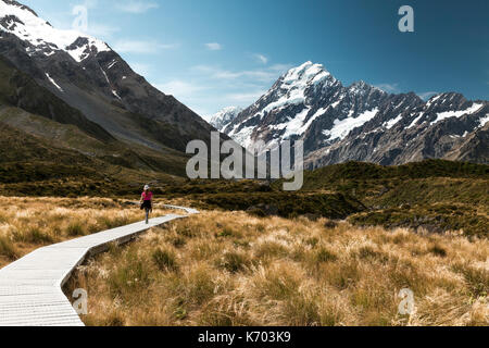Hooker Valley Track and Mount Cook - Stock Photo