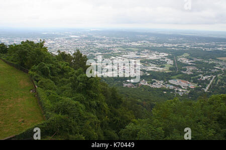 Looking down over Chattanooga, Tennessee from above on a foggy day - Stock Photo