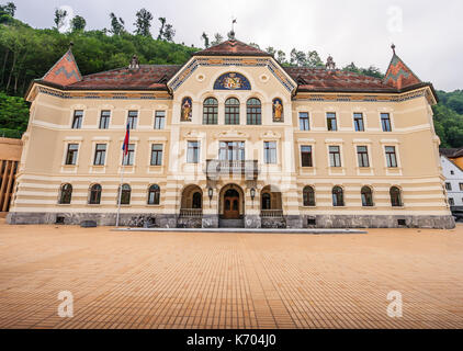 Parliament building in Vaduz, Liechtenstein, Europe. - Stock Photo