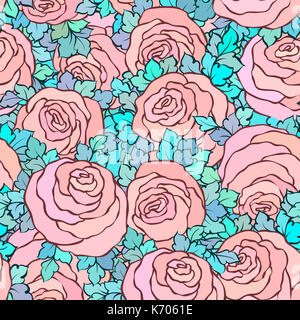 Floral decorative bright pink background with cute roses, seamless pattern in pastel pink colors. - Stock Photo