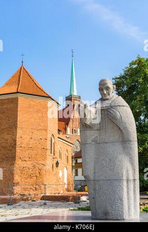 A monument to Pope John XXIII in Ostrów Tumski, Wroclaw, Poland - Stock Photo