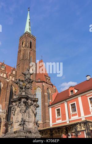 Collegiate Church of the Holy Cross and St. Bartholomew (Kolegiata Świętego Krzyża i św. Bartłomieja) on Cathedral - Stock Photo