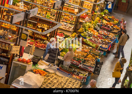 Inside Wroclaw Market Hall (Hala Targowa) in 2017, Wroclaw, Poland - Stock Photo