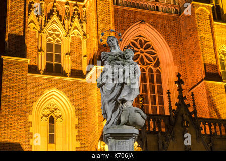 Sculpture of the Holy Mary and Child outside the Wroclaw Cathedral of St. John the baptist at night in Ostrow Tumski, - Stock Photo