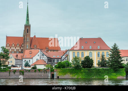 Ostrow Tumski (Cathedral Island) with the Collegiate Church of the Holy Cross and St. Bartholomew (Kolegiata Świętego - Stock Photo