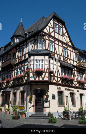 Half-timbered hotel property in Bacharach, Upper Middle Rhine Valley, Germany - Stock Photo