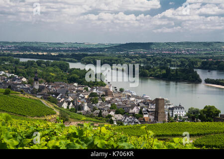 Rudesheim with the Rhine river beyond, Upper Middle Rhine Valley, Germany