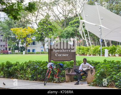 Speakers` Corner in Singapore, the area where open-air public speaking, debate and discussion are allowed. - Stock Photo