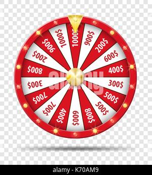Red Wheel Of Fortune isolated on transparent background. Casino lottery luck game. Win fortune Wheel roulette. Vector - Stock Photo