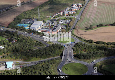 aerial view of Wall Island Interchange roundabouts at A5 A5148 M6 junction, Lichfield, Staffs, UK - Stock Photo
