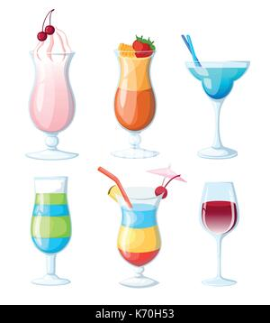 Tropical cocktails and juices set. Vector hand drawn illustration. Various isolated cocktail glass with beverages. - Stock Photo