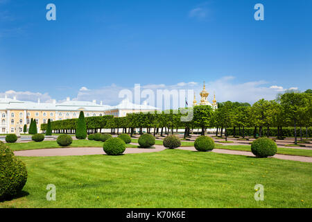 Panoramic view of the Grand Palace and Upper Gardens in spring time, Peterhof, Russia - Stock Photo
