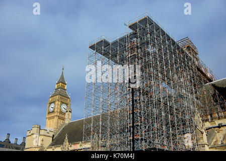 Restoration work in progress on Palace of Westminster Houses of Parliament, London, UK. Restoration and Renewal - Stock Photo