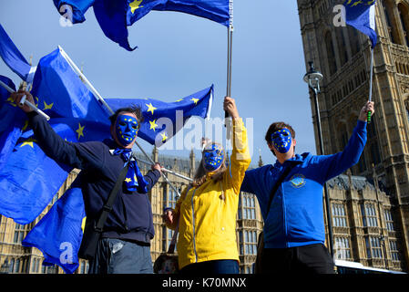 Pro Europe remainers anti brexit protesters waving European flags outside Houses of Parliament Palace of Westminster - Stock Photo