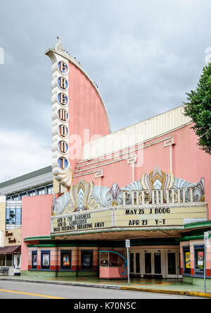 Pink art deco movie palace Fremont in San Luis Obispo, California, among the last Streamline Moderne theaters built - Stock Photo