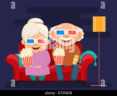 Grandparents day greeting card. Grandmother and grandfather watching movie at home. Vector illustration on dark - Stock Photo