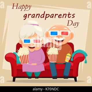 Grandparents day greeting card. Grandmother and grandfather watching movie at home. Vector illustration on light - Stock Photo