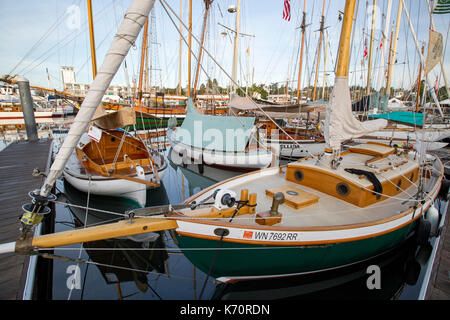 Wooden Boat Show Port Townsend, sailing boat in marina harbor, Point Hudson. - Stock Photo