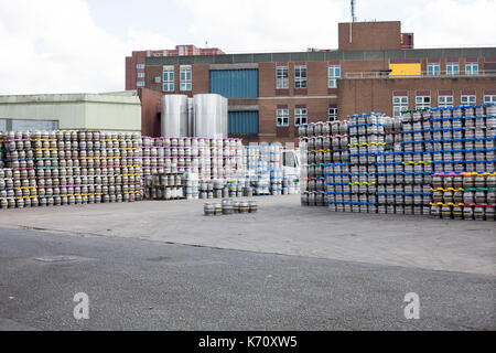 Kegs stocked in the brewery. - Stock Photo