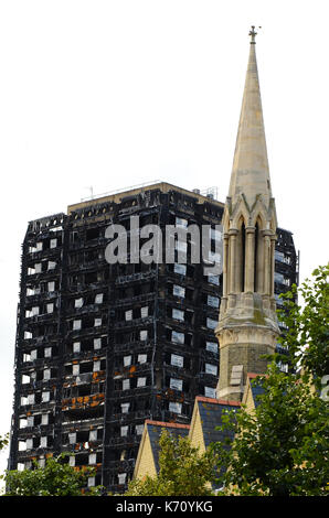 Grenfell tower fire London - Stock Photo