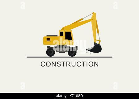 Excavator works flat style - Stock Photo