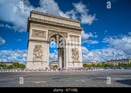 Arc de Triomphe on the Champs Elysees in Paris - Stock Photo