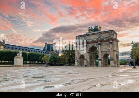 Arc de Triomphe du Carrousel at Sunset - Stock Photo