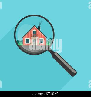 House search with magnifier - Stock Photo