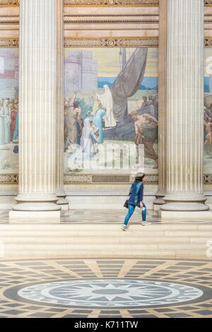 France, Paris, Latin Quarter, Pantheon (1790) neo classical style, mural decoration of the artist Pierre Cecile - Stock Photo