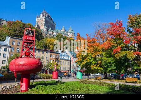 Canada, Quebec, the scenic Chemin du Roy, Quebec City, the historic district of Old Quebec listed as World Heritage - Stock Photo