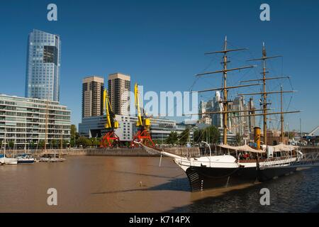 Argentina, Buenos Aires, Puerto Madero, Corbeta Uruguay, tall ship that visited Antartica in 1903 - Stock Photo