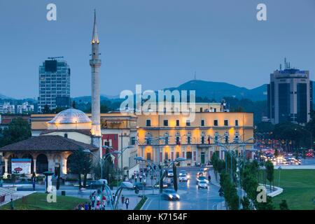 Albania, Tirana, Skanderbeg Square, elevated view, dusk - Stock Photo