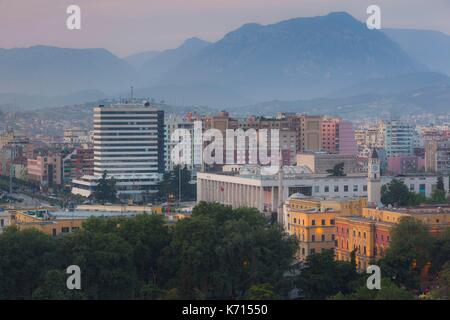 Albania, Tirana, elevated view of Skanderbeg Square, dusk - Stock Photo