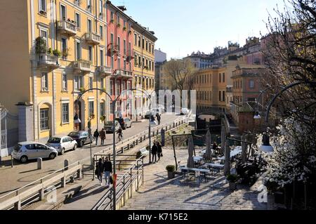 Italy, Lombardy, Milan, Naviglio Martesana, Gabelle bridge - Stock Photo