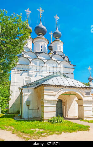 The summer church of St Lazarus with massive porch and many small onion domes, traditional for Russian Orthodox - Stock Photo