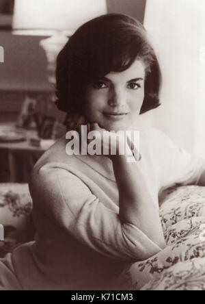 First Lady Jacqueline Bouvier Kennedy, wife of President John F. Kennedy, in a 1961 White House portrait by Mark - Stock Photo