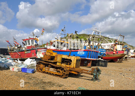 Fishing Boats on Hastings Stade Fishermens Beach, East Sussex, England, UK - Stock Photo